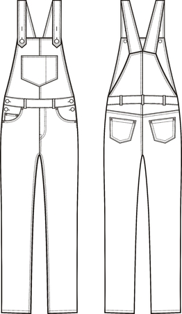 suspender: Vector illustration of denim coverall. Front and back views Illustration