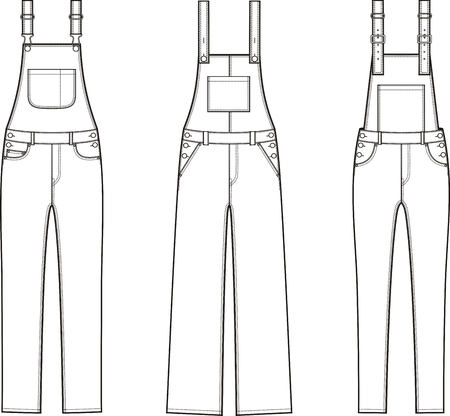 suspender: Vector illustration of denim coverall. Different models
