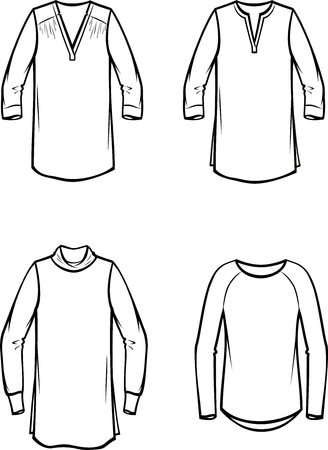 Vector illustration of womens knitted blouse. Casual clothes Ilustração