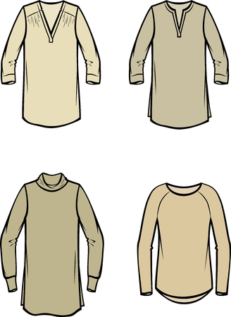 Vector illustration of womens knitted blouse. Casual clothes Illustration