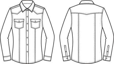 pocket size: Vector illustration of womens jean shirt. Front and back. Clothes in denim style