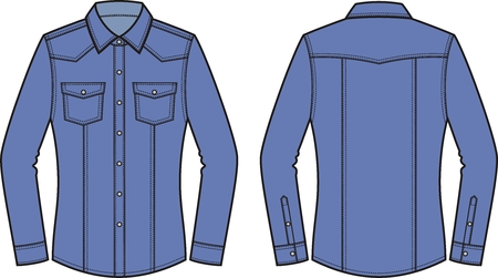 Vector illustration of womens jean shirt. Front and back. Clothes in denim style