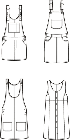 suspender: Vector illustration of womens jean overall dress. Clothes in denim style