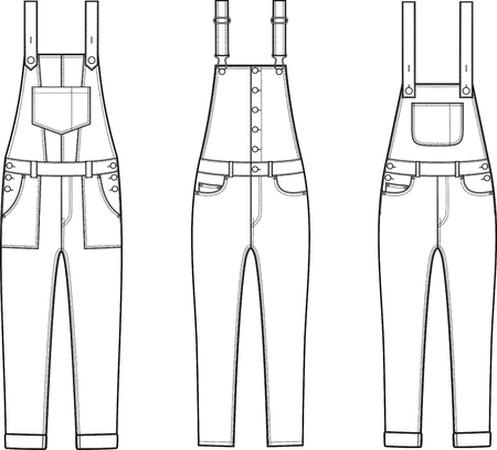 Vector illustration of different models denim coverall.