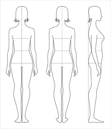 Illustrazione vettoriale delle proporzioni del corpo delle donne e misure per la progettazione di abbigliamento e cucito. Archivio Fotografico - 77496358
