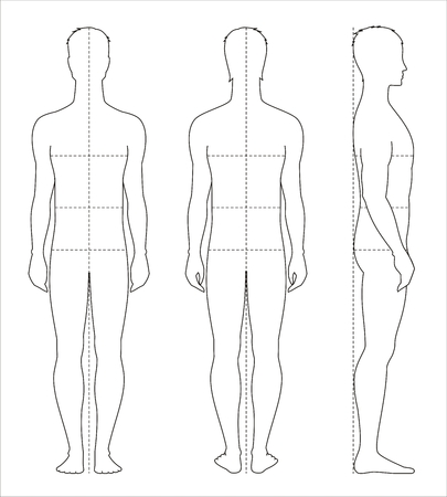 Vector illustration of men's body proportions and measurements for clothing design and sewing.