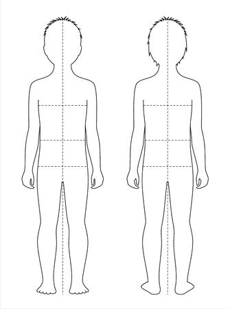 Vectorillustratie van de lichaamsverhoudingen van het kind en metingen voor kledingontwerp en het naaien. Voor- en achteraanzicht Stock Illustratie