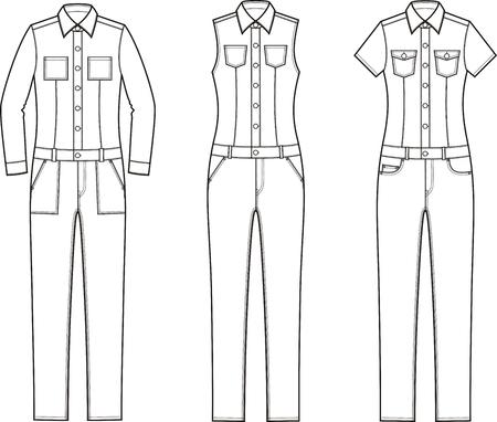 女性のデニムつなぎ服のベクター イラストです。異なるモデル