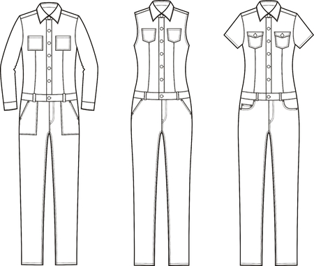 Vector illustration of womens denim coverall. Different models