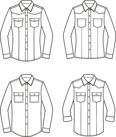 Vector illustration of womens jean shirt. Clothes in denim style