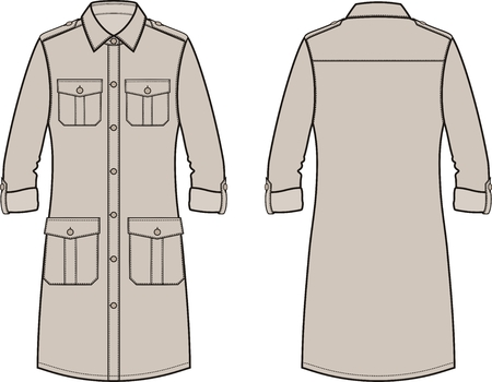 pocket size: Vector illustration of womens dress. Front and back. Clothes in military style