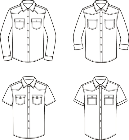 Vector illustration of mens jean shirt. Clothes in denim style Illustration