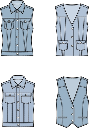 pocket size: Vector illustration of womens jean vest. Clothes in denim style