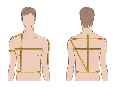 Vector illustration of mens body measurements for clothing design and sewing. Front and back views Illustration