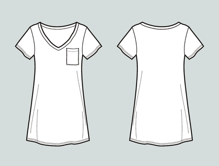 pocket size: Vector illustration of womens t-shirt. Front and back Illustration