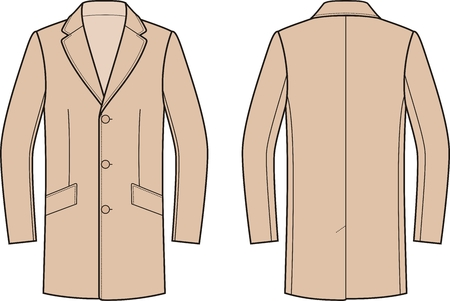 Vector illustration of mens coat. Front and back. Clothes in business style Illustration