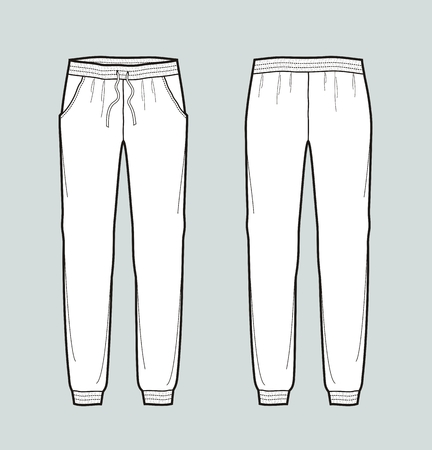 Vector illustration of womens joggers pants. Front and back