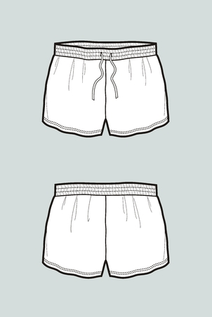 Vector illustration of womens shorts. Front and back Illustration