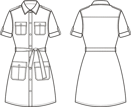 Vector illustration of womens dress. Front and back. Clothes in military style