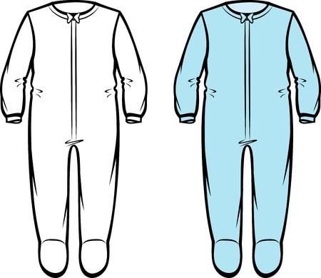 Vector illustration of childs romper suit. Casual clothes Çizim