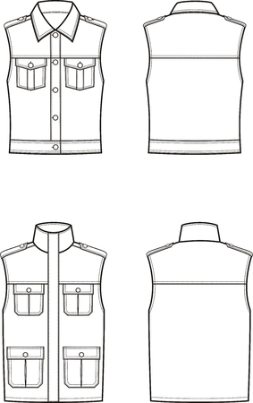 Vector illustration of womens and mens waistcoat. Front and back. Clothes in military style Illustration