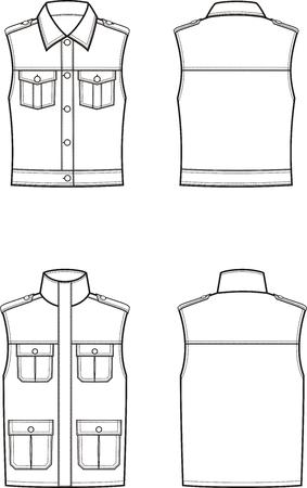 Vectorillustratie van vest van vrouwen en mannen. Voor-en achterkant. Kleren in militaire stijl