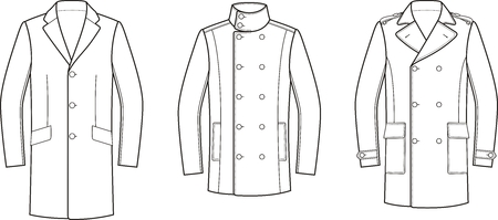 Vector illustration of mens coat. Clothes in business style