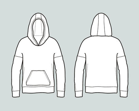 Vector illustration of jumper with hood and pocket. Front and back
