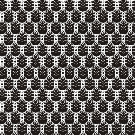 Vector illustration of openwork seamless black-and-white pattern