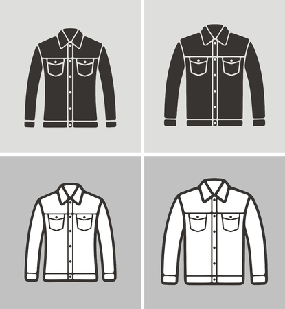 Vector illustration of mens and womens jacket, clothes icon