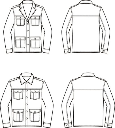 Vector illustration of womens and mens jacket. Front and back. Clothes in military style