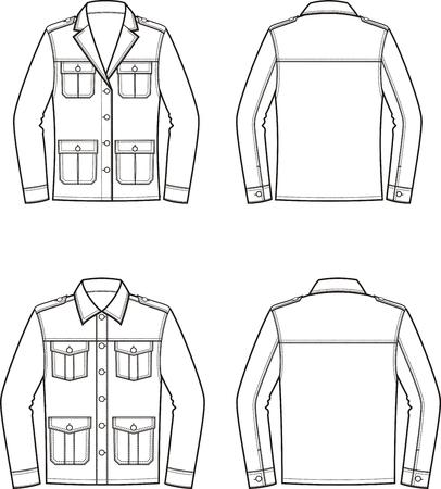 Vektorillustration der Jacke der Frauen und der Männer. Vorne und Hinten. Kleidung im militärischen Stil Standard-Bild - 86138923