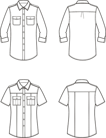 Vector illustration of womens shirt. Front and back. Clothes in military style