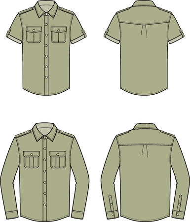 Vector illustration of mens shirt. Front and back. Clothes in military style Ilustração