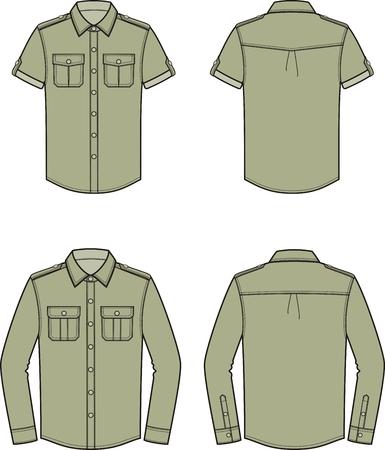 Vectorillustratie van hemd voor mannen. Voor-en achterkant. Kleren in militaire stijl