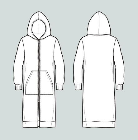 pocket size: Vector illustration of long smock. Front and back. Casual clothes Illustration