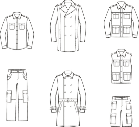 Vector illustration of mens clothes: trench coat, shirt, coat, vest, jacket, pants, shorts. Clothes in military style Illustration