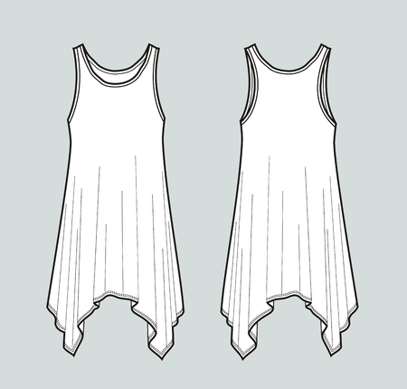 Vector illustration of dress. Front and back. Womens clothes Illustration