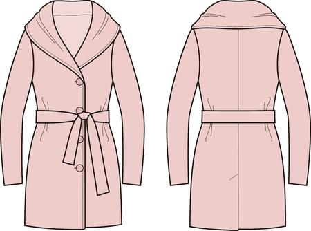 Vector illustration of women's overcoat Vectores