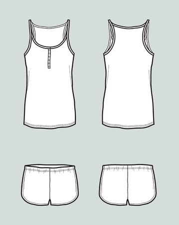 Vector illustration of singlet with straps and shorts Vettoriali