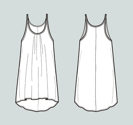 Vector illustration of women's top, Front and back