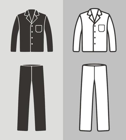 パジャマ、ジャケットとパンツ、服のアイコンのベクトルイラスト