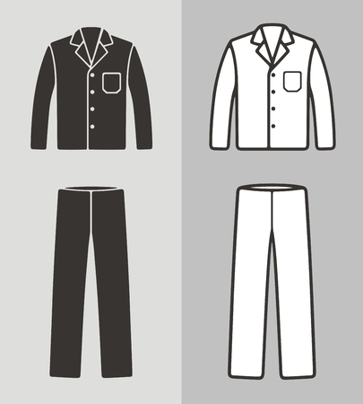 Vector illustration of pajamas, jacket and pants, clothes icon