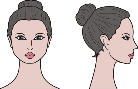 Vector illustration of womens head. Front and side Иллюстрация