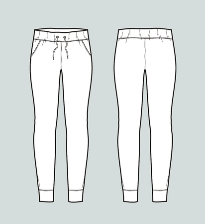 Vector illustration of womens skinny jogger pants. Front and back Çizim