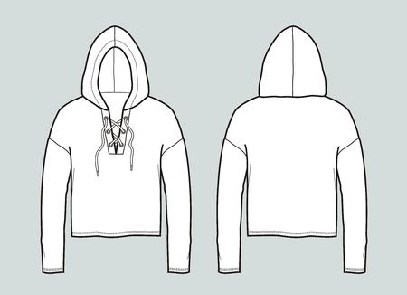 Vector illustration of hooded jumper. Front and back Illustration