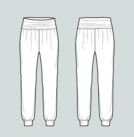 Vector illustration of womens draped pants. Front and back Illustration