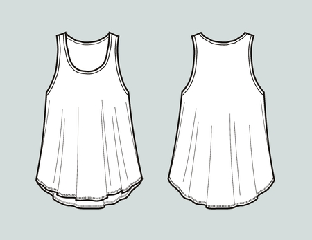 Vector illustration of flared top. Front and back. Womens clothes