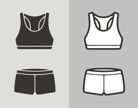 Vector illustration of womens sport swimsuit, bra and panties, clothes icon