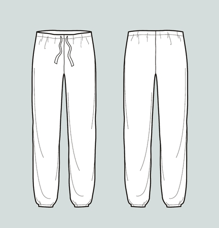 Vector illustration of womens pants. Front and back